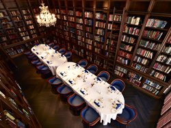 The Reading Room of the Library set up for a formal dinner.